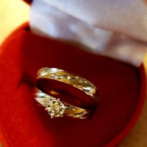 Stunning Wedding Set Genuine 14 Diamonds 10K Sz. 5